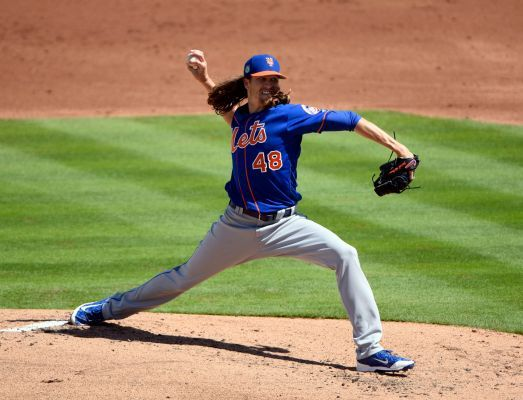 Mets rotation: So far, so good, but with team's history, ya gotta be nervous  -  March 7, 2017:  Jacob deGrom of the Mets pitches against the Astros during a spring training game at The Ballpark of the Palm Beaches in West Palm Beach, Florida on March 4, 2017. Photo Credit: Steve Mitchell-USA TODAY Sports / Steve Mitchell