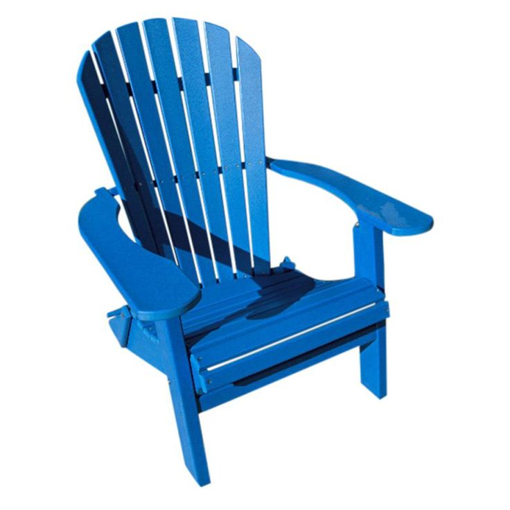 Phat Tommy, Outdoor  Recycled Plastic Deluxe Folding Adirondack Chair Blue - 405-ADIRONPOLY.BLUE