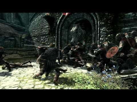 Skyrim Video: Larger fight scene between two sides, contains medieval-like environment