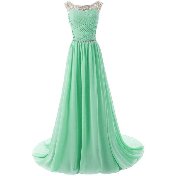 Dressystar Beaded Straps Bridesmaid Prom Dress with Sparkling... ($100) ❤ liked on Polyvore featuring dresses, beaded prom dresses, green sparkly dress, embellished cocktail dress, beaded bridesmaid dresses and sparkly dress