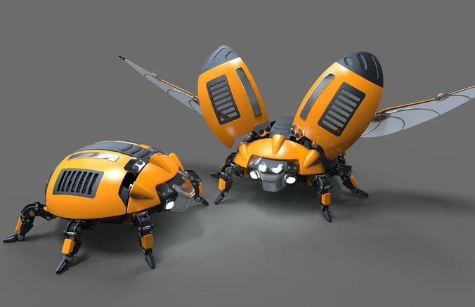 robot beetle ladybug 3d model rigged obj mtl 3ds fbx c4d 7 | 3d