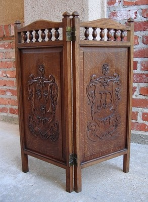 antique english carved tiger oak panel table folding screen firescreen ebay http