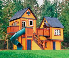 How freaking cool is this thing!! Mega two-story playhouse with slide!!