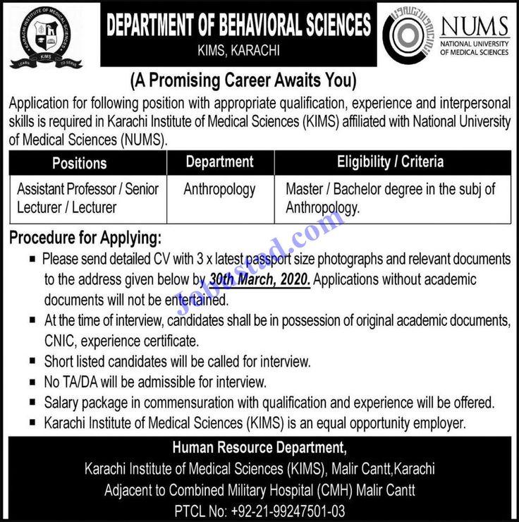 Karachi Institute of Medical Sciences KIMS Jobs March 2020