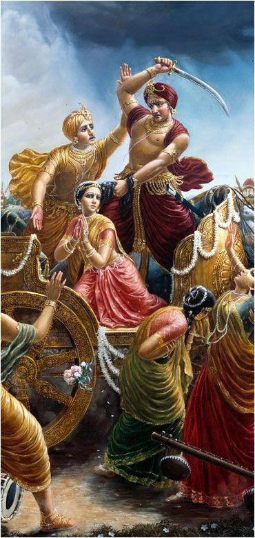 """Ch.1 The Advent of Lord Krishna: """"Kamsa was driving the chariot and controlling the reins with his left hand, but as soon as he heard the omen that his sister's eighth child would kill him, he gave up the reins, caught hold of his sister's hair, and with his right hand took up a sword to kill her."""