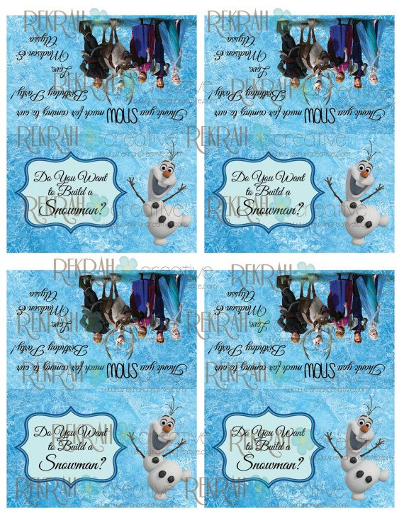 2 Sided Frozen Party Bag Toppers... DIY party toppers, Thank you SNOW much! Do you want to build a Snowman? #frozenparty #rekrahcreative