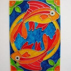 """Ručně malovaná vitráž - """"Rybky"""" (10x15 cm) Hand Painted Stained Glass"""