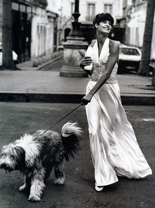 """PARIS COUTURE"" Linda Evangelista, photography by Peter Lindbergh, for Vogue USA, April 1989."