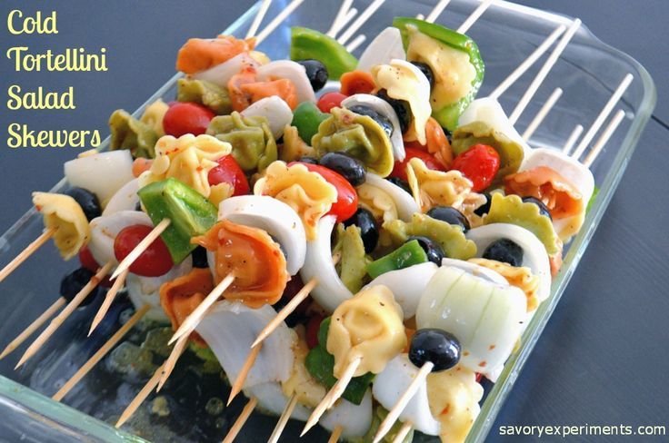 Cold Tortellini Salad Skewers- pasta salad on a stick! Great for cookouts and BBQs, use leftovers in your salad. | #pastasalad | www.savoryexperiments.com