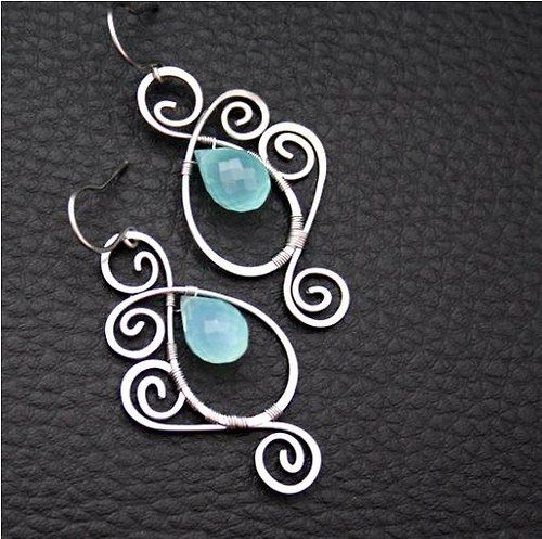 Pretty wire worked briolette earrings