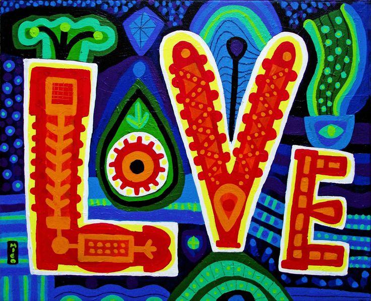 """LOVE"" | acrylic on canvas | 16inx20in | by Mico Art | www.micoart.com"