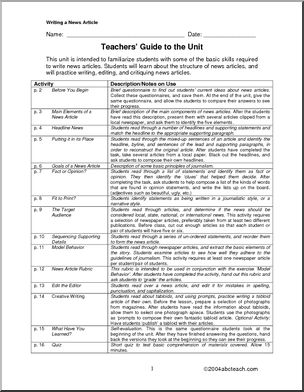 Unit: Writing a News Article (middle school) - Includes the main elements of a news article, writing headlines, writing a lead, story sequencing, differences between fact and opinion... all the basic aspects of news writing are included in this 15 page multiple-skill unit.