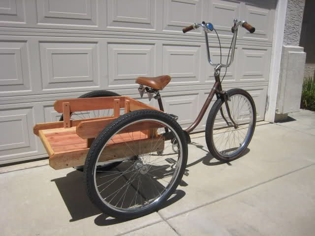"1960's RET BAR brand ""Adult Trike"" ""Dual Drive"" from Peoria, AZ. 2 speed rear w/ coaster & hand brake. 24"" long redwood bed. Original paint."