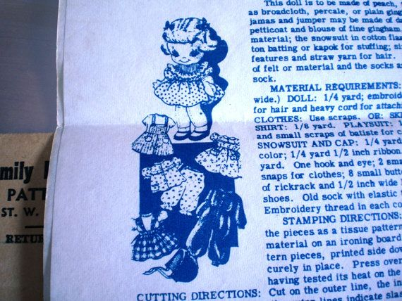 Vintage  1957  Girl Doll Pattern  12 Inches by OldMavisVintage, $5.00