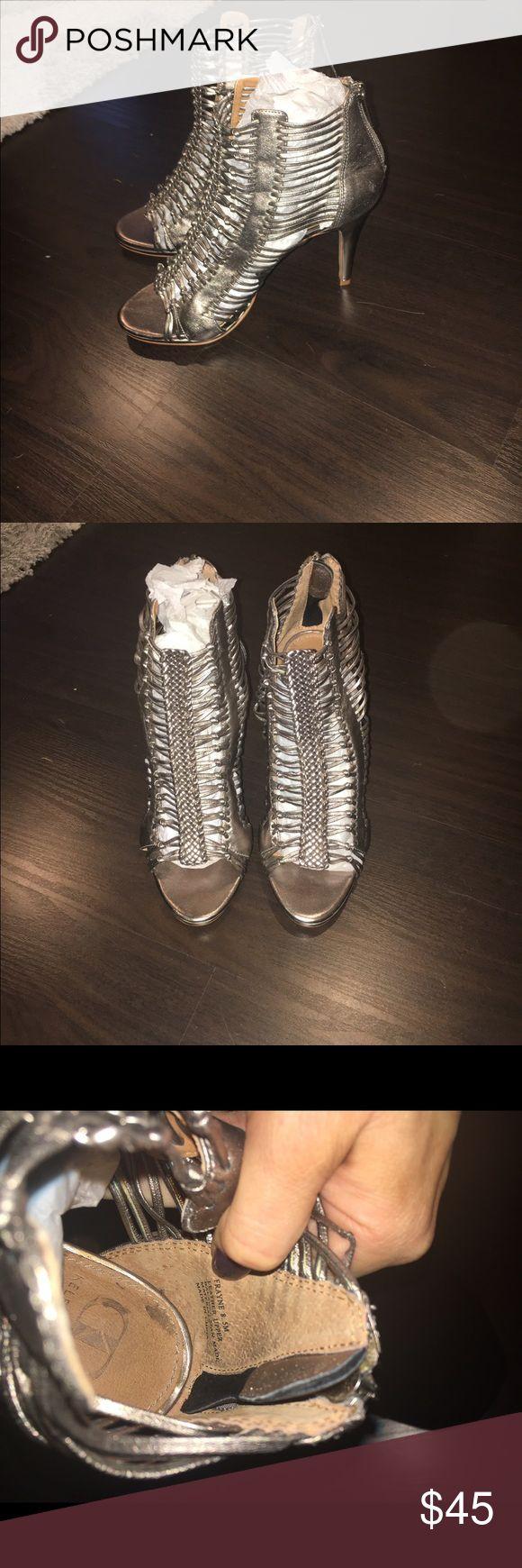 Kelsi dagger frayne caged heels Worn three times. Good condition kelsi dagger frayned heels in pewter. Size 8.5 Kelsi Dagger Shoes Heels