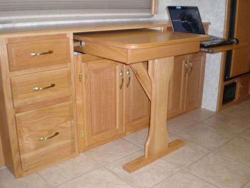 Custom slideout rv desk rv stuff pinterest laptops dinette sets and desks - Pull out kitchen table ...