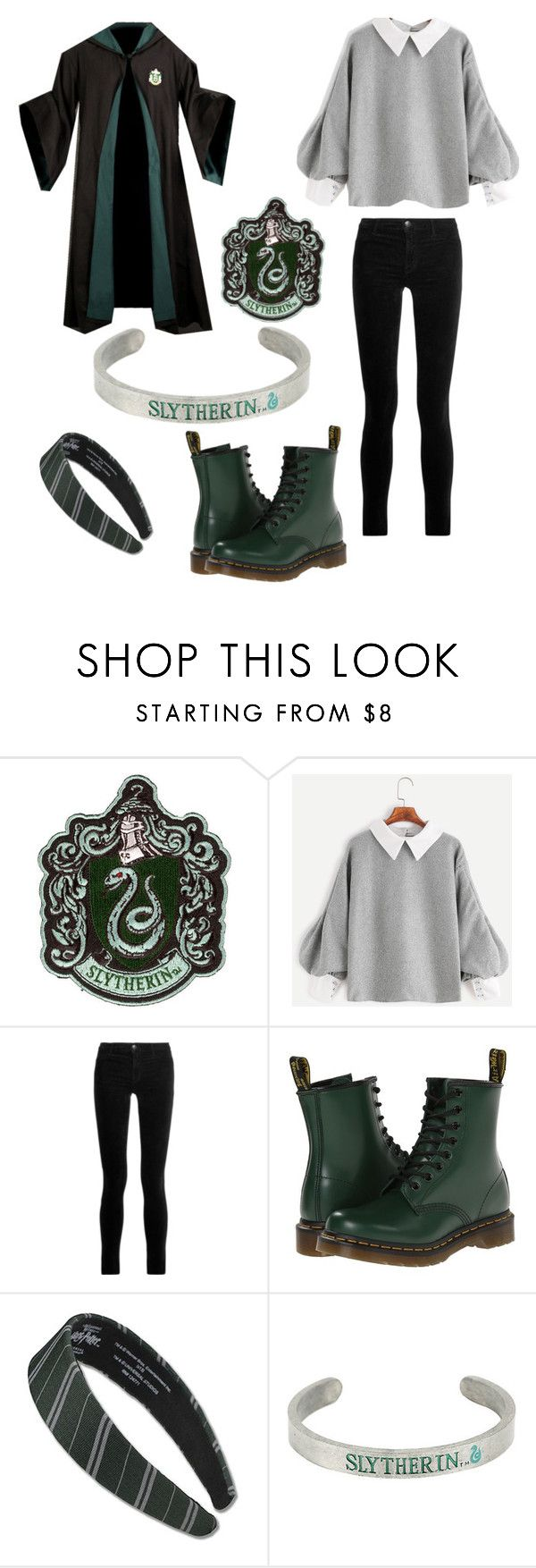 """""""Slytherin House"""" by kayla-allaire on Polyvore featuring J Brand, Dr. Martens and Warner Bros."""