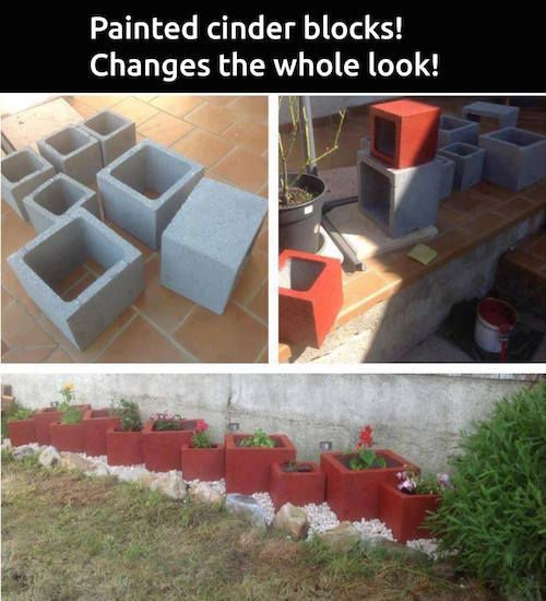 Garden Hack: Painted cinder blocks. Great idea for a custom look. Another idea is to use glow in the dark paint.