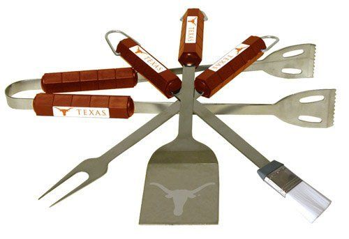 Texas Longhorns 4pc BBQ Set by BSI. $43.99. Tailgating never looked so good! This stainless steel BBQ set is a perfect way of showing your team pride on Game Day. Each utensil is printed with your favorite College team's artwork. The set includes tongs, brush, fork and a laser etched spatula.