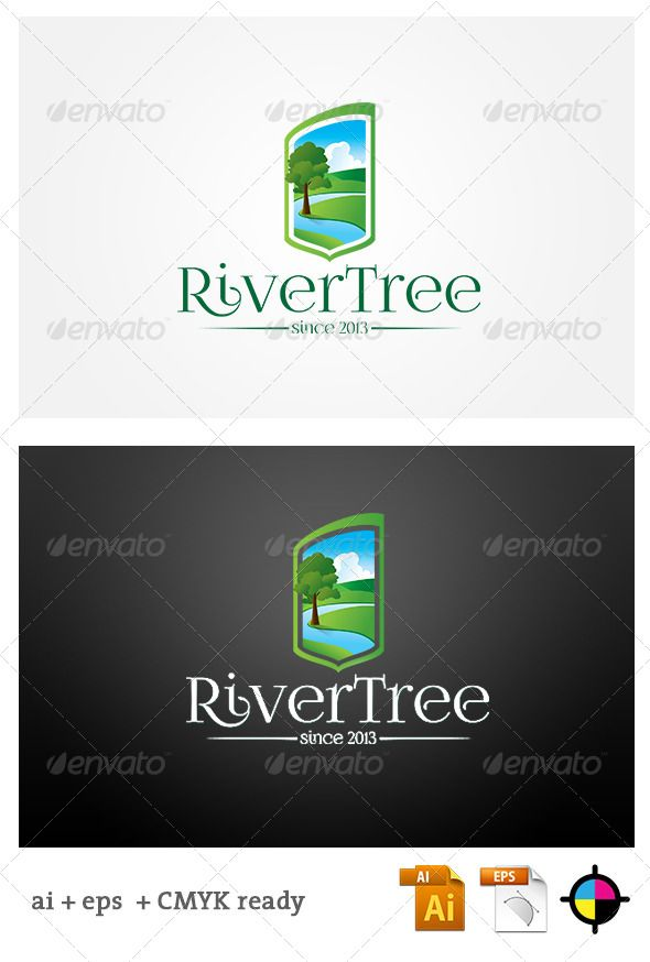 River Tree — Vector EPS #river #clouds • Available here → https://graphicriver.net/item/river-tree/6260738?ref=pxcr