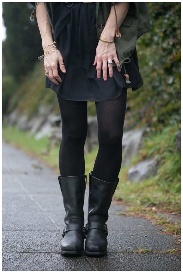LBD with Frye Harness Boots...