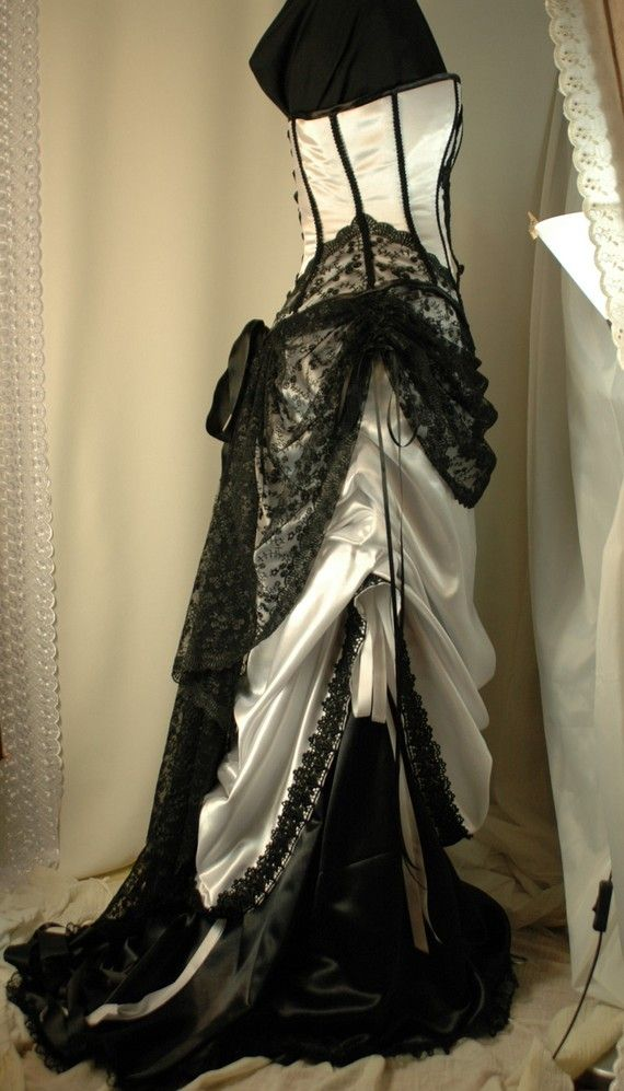 Custom made white and black corset gown by BoundByObsession, $700.00