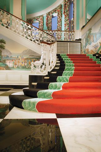 Greenbrier - Dorothy Draper  - contrasting color scheme (red/green)  - tonal distribution throughout  - dark hues, planes recede