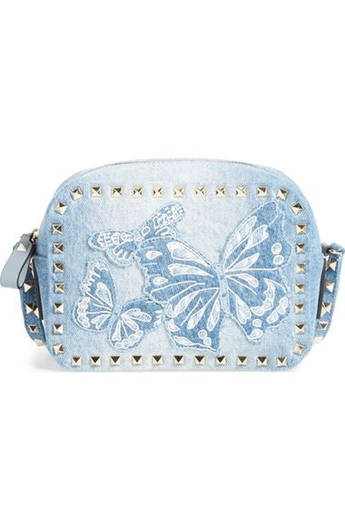 Valentino Rockstud Camera Denim Crossbody Bag available at #Nordstrom