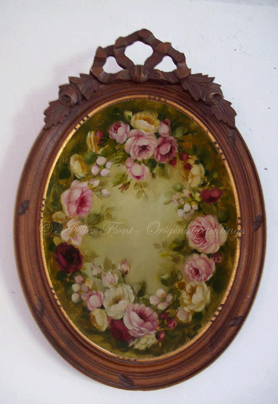 A Wreath of Roses ✿ Original painting by Helen Flont