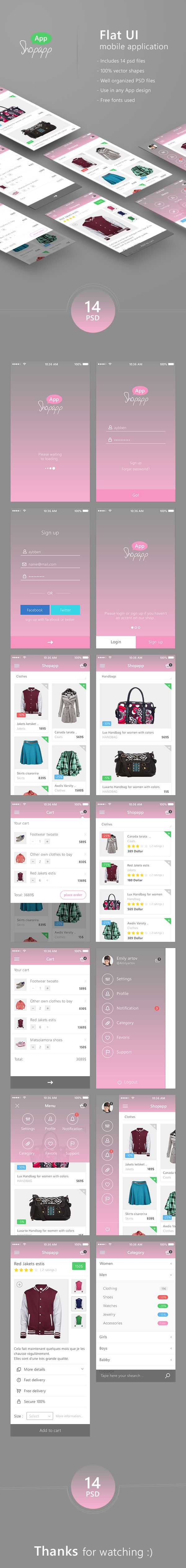 Shopapp - Flat Mobile App UI - Shopping + Download on Behance