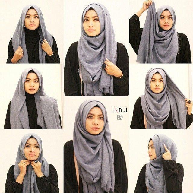 Tutorial Hijab Pashmina Satin Simple Dan Mudah Edukasi Lif Co Id