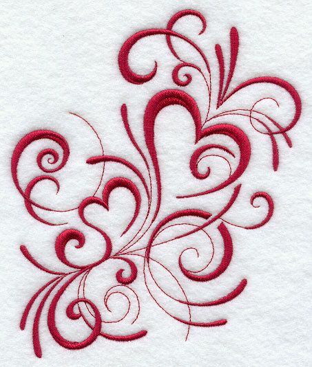 Inky Red Hearts - Embroidered Decorative Linen Kitchen Dish Towel or Absorbent White Cotton Flour Sack Towel