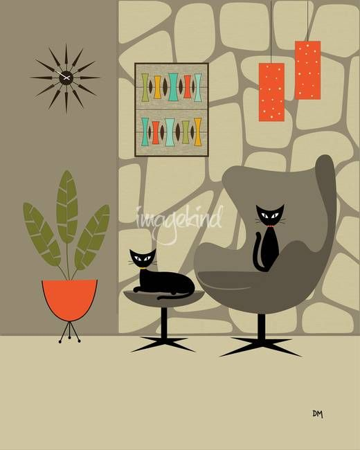 """Mid Century Art print, """"Stone Wall"""" by Donna Mibus"""