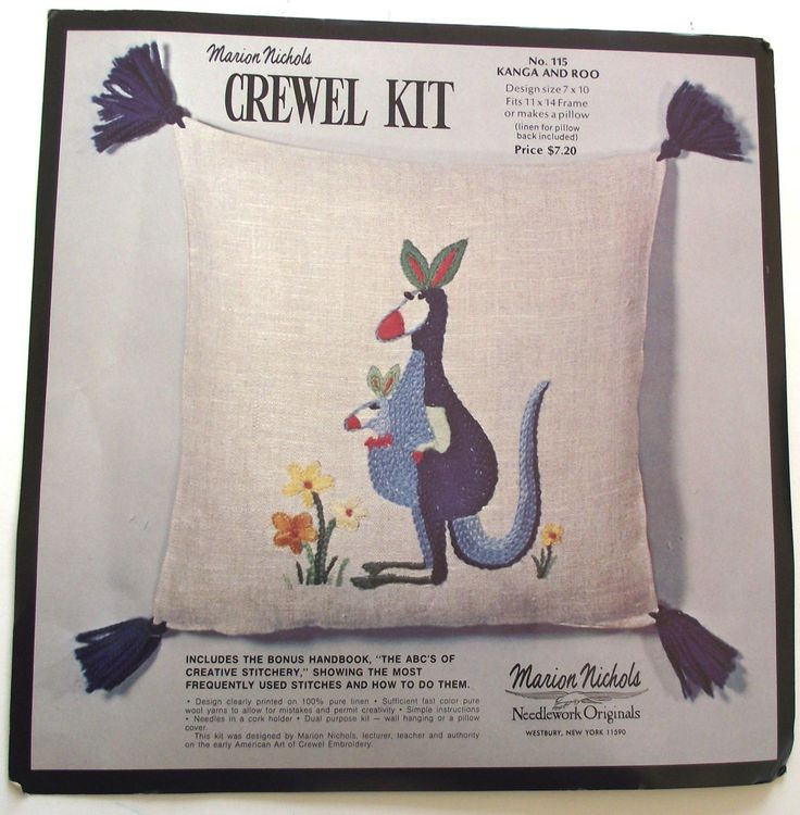 Marion Nichols Kanga and Roo Crewel Embroidery Kit, Blue Kangaroo Picture and Pillow DIY Project by planetalissa on Etsy