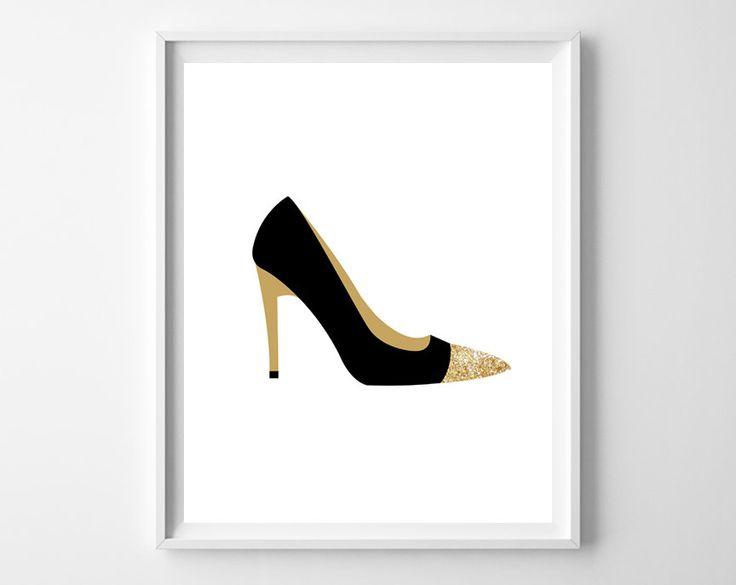 Shoe Print Black and Gold High Heel Fashion by bonmotprints