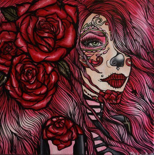 "Cute Pink Day of the Dead GirL Satin paper  PRINT   "" Stargazer""  8 by 8   Dia De los muertos Sugar Skull Red Roses Pink."