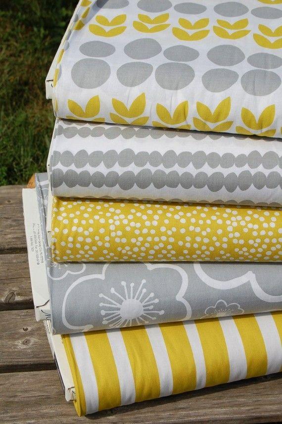 Tissu créateur tour de lit et gigoteuse gris jaune blanc