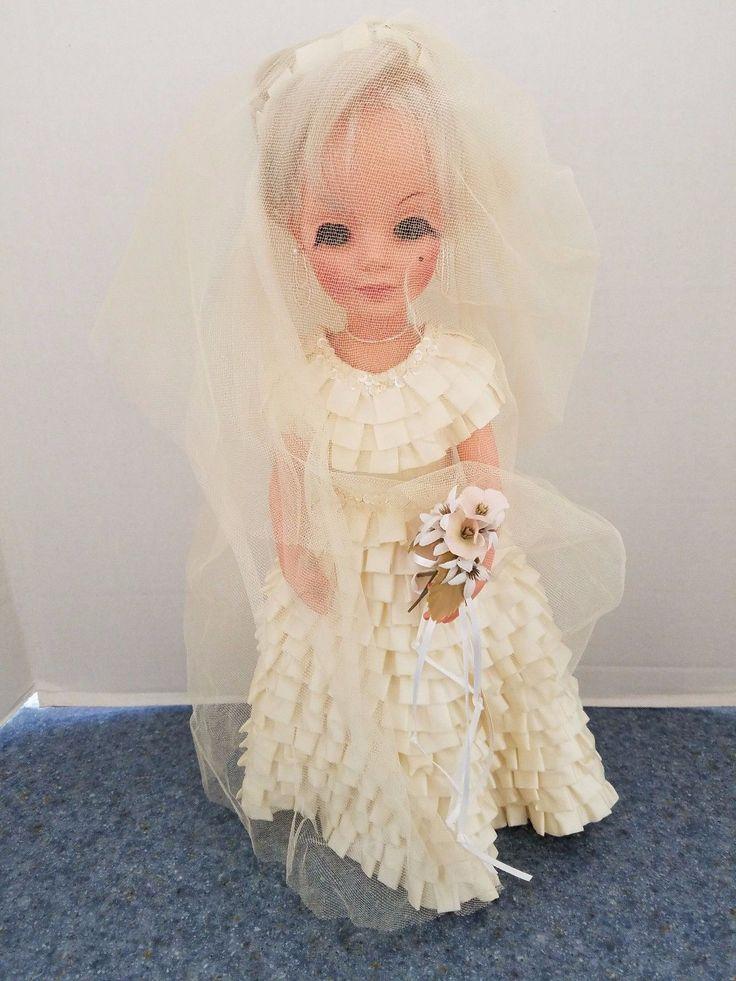 Vintage 1979 Furga Doll in Handmade & Hand Pleated Wedding Dress