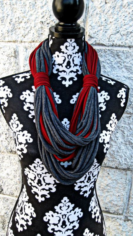 T shirt Scarf infinity Scarves Boho Style Red by Scarvesbystephy, $30.00