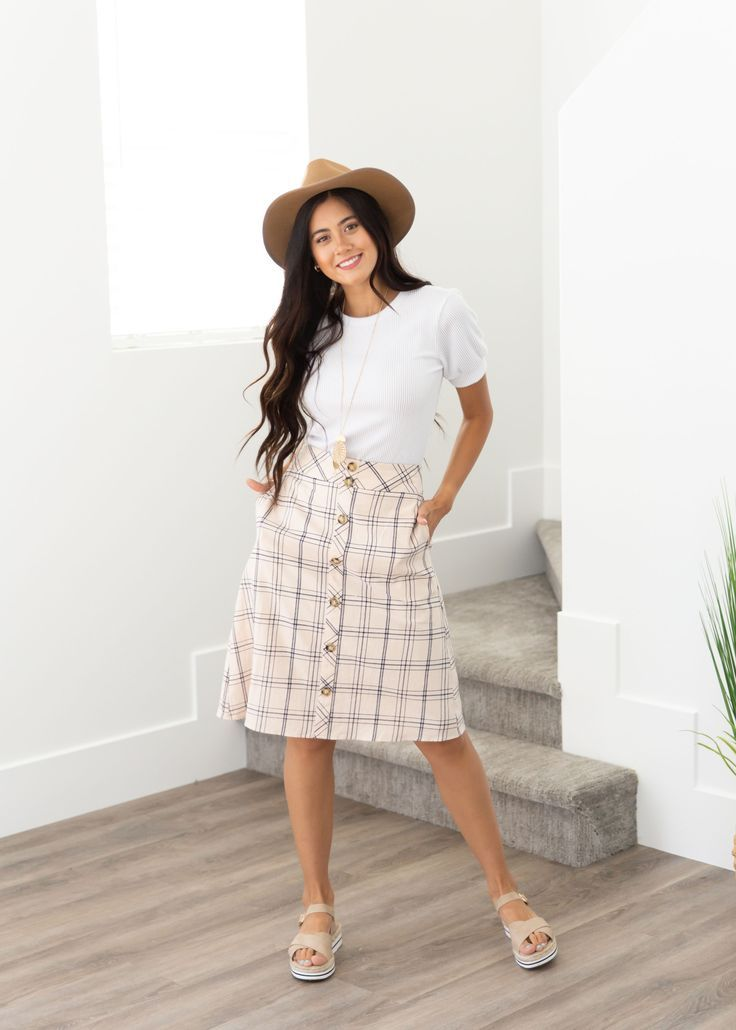 This knee length grid skirt is perfect for back to school and will pass all the … – Everyday Style