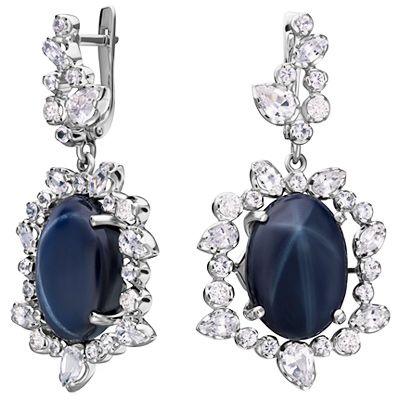 Серьги с бриллиантами, сапфирами из белого золота купить за 935 858 рублей.