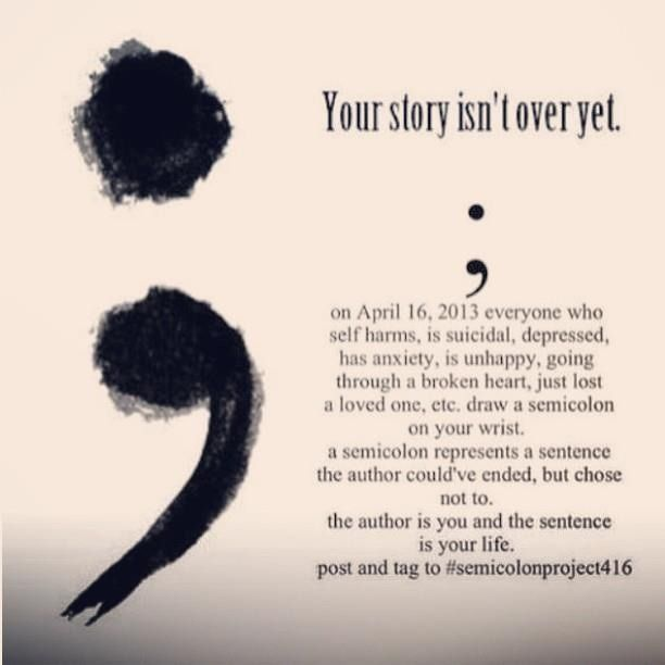 Semicolon Depression Self Harm And Suicide Awareness: Reblogged From: Http
