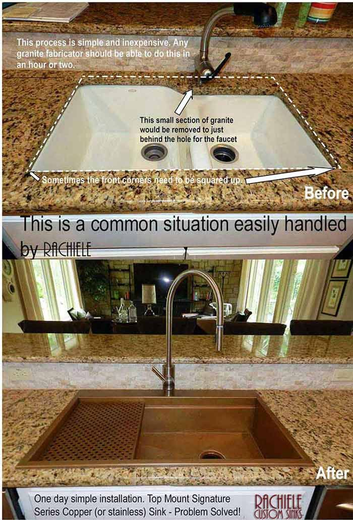 Replace Your Outdated Double Bowl Sink In One Day Have Us Make A Custom Retrofit Top Mount Workstati Replacing Kitchen Sink Copper Sink Drop In Farmhouse Sink