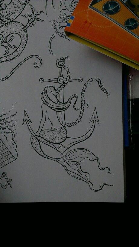 Mermaid anchor tattoo design