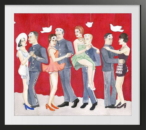 Living Room Decor Watercolor Painting Art Print - People Dancing Waltz - After the War comes Peace  10 x 8.7 inches $20.00