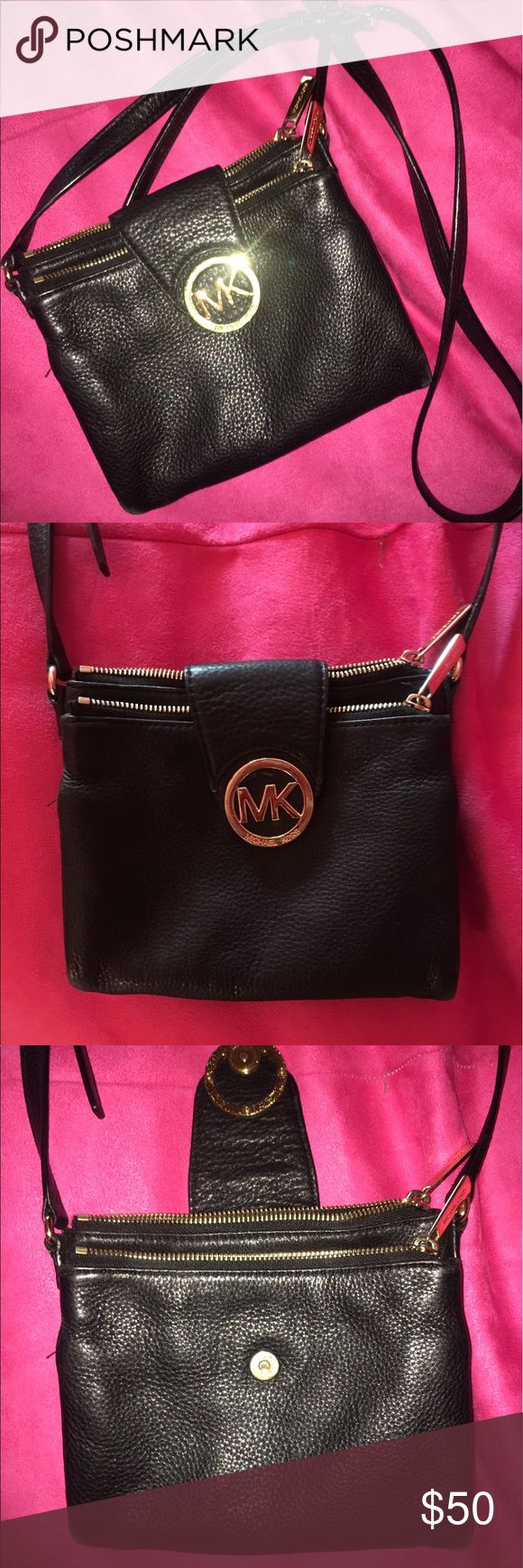 Black and Gold Michael Kors sling bag! This gold and black bag is perfect for a small going out purse!! It is clean and in great condition! The only flaw is the MK symbol is slightly scratched(last pic) !!! Open to offers 💖 Michael Kors Bags Crossbody Bags