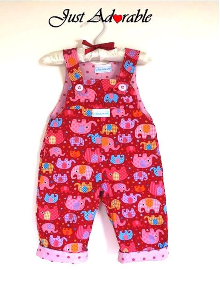 Baby overalls, Baby girl overalls, Baby girl dungarees, Red elephant and pink spot reversible overalls. Size 3 -6 months Ready to ship by JustAdorablebyClaire on Etsy https://www.etsy.com/listing/255950615/baby-overalls-baby-girl-overalls-baby
