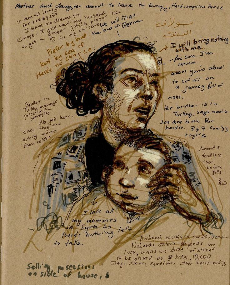Molly Crabapple's Heartbreaking Portraits of Syrian Refugees
