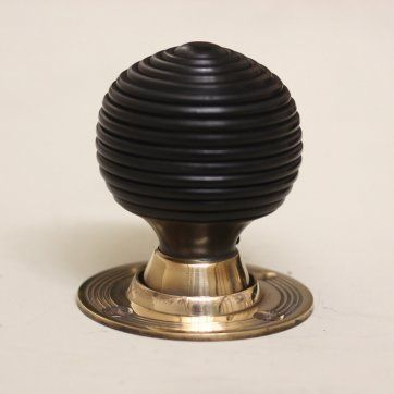 Solid Ebony & Brass Beehive Door Knobs - Pair