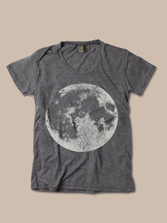 Womens FULL MOON Graphic Print Vintage Boho Bohemian Slouchy Short Sleeve T shirt Halloween Tee Top Alternative Apparel S M L  More colors